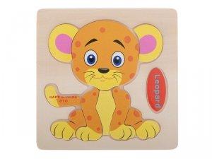 Układanka drewniana puzzle leopard 10el. 15x15cm