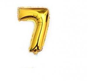 Balon urodzinowy na hel cyfry 7 76cm złoty