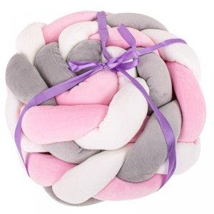 Ochraniacz otulacz do łóżeczka warkocz szary/biały/różowy 9x300cm