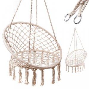 Huśtawka fotel bocianie gniazdo z oparciem ecru 80cm XL