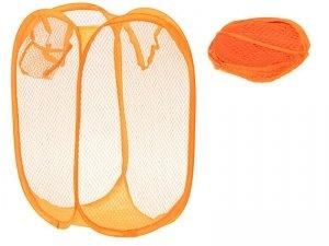 Kosz na bieliznę zabawki z siatki składany pomarań