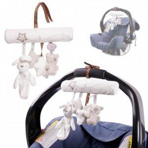 Zawieszka na wózek nosidełko szaro biała zwierzaki