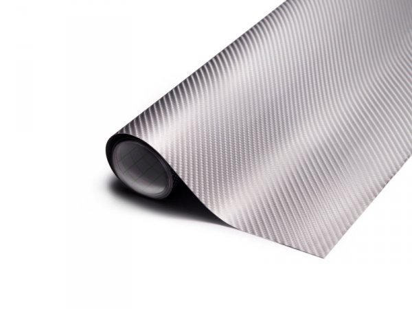 Folia odcinek Carbon 4D srebrna 1,52x0,1m 9086