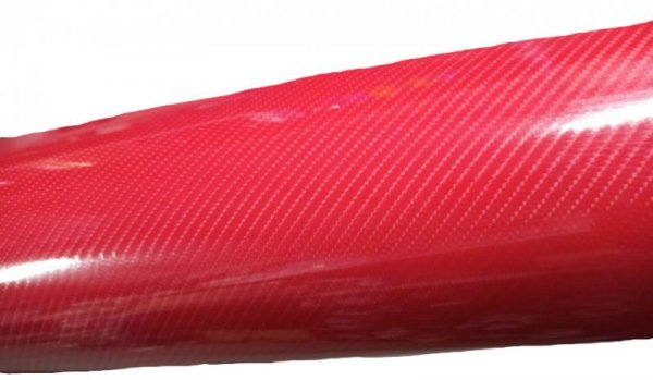 Folia odcinek carbon 5D czerwona 1,52x0,1m