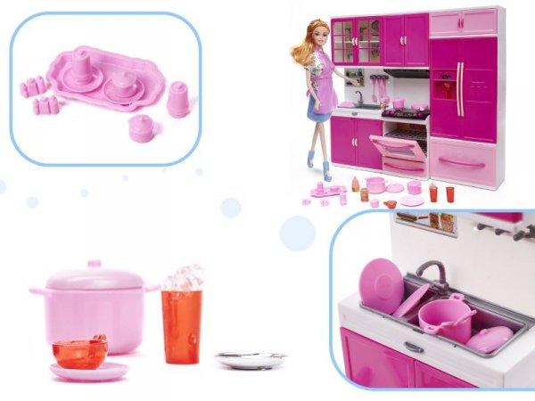 Mebelki dla lalek kuchnia 3 segmenty lodówka dźwięki LED + lalka