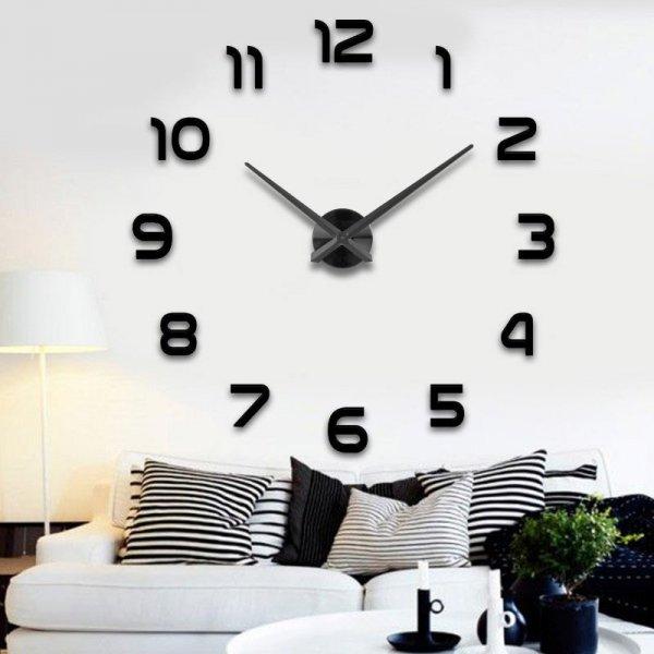 Zegar ścienny duży 80-120cm czarny 12 cyfr
