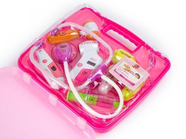 Zestaw lekarza w walizce DOKTOR +światła różowy
