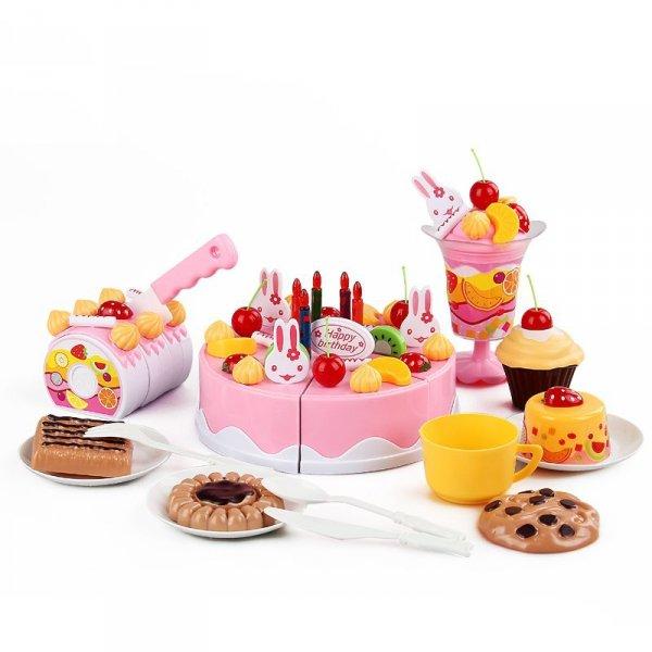 Tort Urodzinowy do Krojenia Kuchnia 75 el. róż