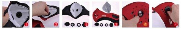 Maska do biegania neoprenowa BASIC czerwona + filtr