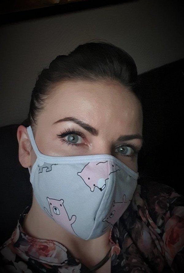Bawełniana maska z kieszonką na filtr SIMPLE dla dorosłych wzór MISIE