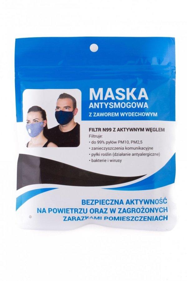 Maska antysmogowa na co dzień dla dorosłych różowa w kropki