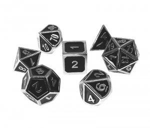 Komplet kości REBEL RPG - Metal - Tłoczona chromowana czerń