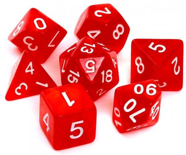 Komplet kości REBEL RPG - Perłowe - Czerwone