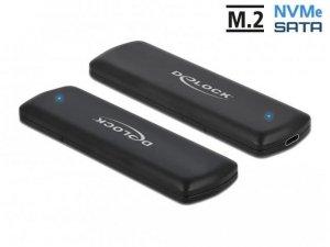 Obudowa na dysk Delock SSD zewnętrzna M.2 NVME PCIE/SATA USB type-C 3.1 Gen 2 beznarzędziowa czarna