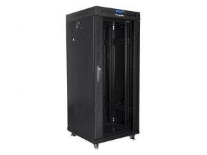 """Szafa instalacyjna stojąca 19"""" 27U 600x600 czarna drzwi szklane LCD Lanberg (flat pack)"""