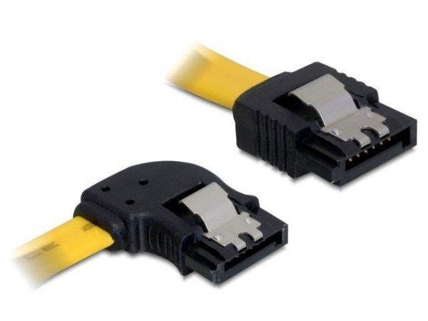 Kabel Delock SATA DATA 0,3m z zatrzaskami metalowymi (krótkie wtyczki) kątowy