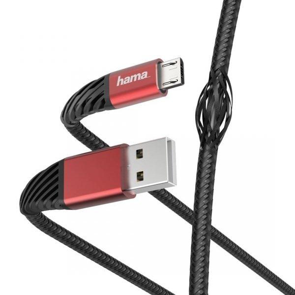 """Kabel USB 2.0 Hama """"Extreme"""" A (M) - Micro USB B (M) 1,5m czarno-czerwony"""