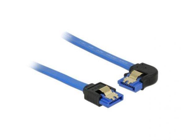 Kabel SATA Delock SATA-III DATA 0,50m z zatrzaskami metalowymi niebieski kątowy lewo/prosto