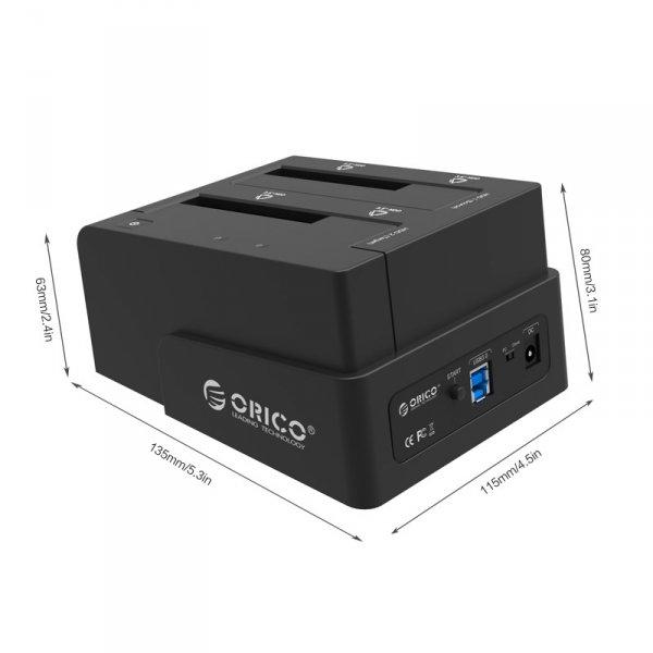 """ORICO zewnętrzna stacja dokująca HDD 2,5""""/3,5"""" SATA 3.0 USB 3.0 klonowanie - czarna"""