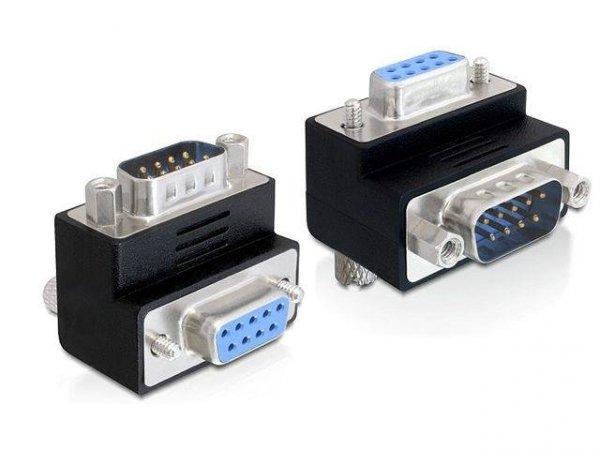 Adapter Delock Serial 9-pin COM (M) - Serial 9-pin COM (F) kątowy czarny