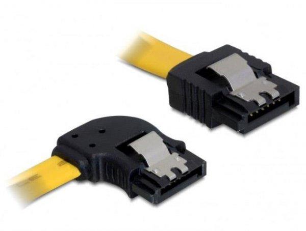 Kabel SATA Data II Delock 0,5m z zatrzaskami metalowymi kątowy lewo/prosto żółty