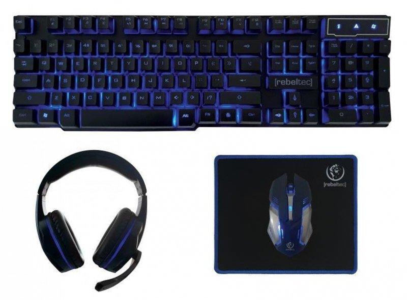 Zestaw przewodowy klawiatura + mysz + pad + słuchawki Rebeltec SHERMAN Gaming USB czarny podświetlany