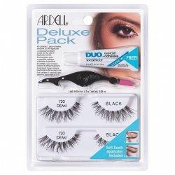 ARDELL Deluxe Pack 120 Demi Black- zestaw 2 par rzęs z klejem i aplikatorem