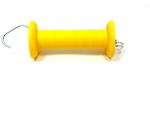 Uchwyt bramowy z hakiem i sprężyną do ogrodzenia elektrycznego, żółty