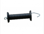 Uchwyt bramowy z hakiem i sprężyną do ogrodzenia elektrycznego, czarny