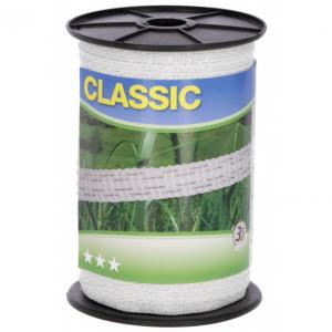 Taśma CLASSIC 200m, 10mm, biała do pastucha