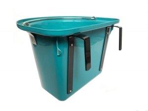 Pojemnik na paszę, wiadro, poidło, karmidło z hakami i pałąkiem, 12L, aquamarine
