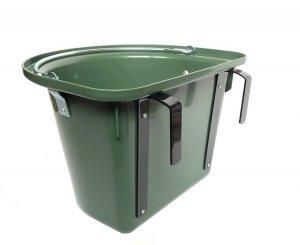 Pojemnik na paszę, wiadro, poidło, karmidło z hakami i pałąkiem, 12L, oliwka