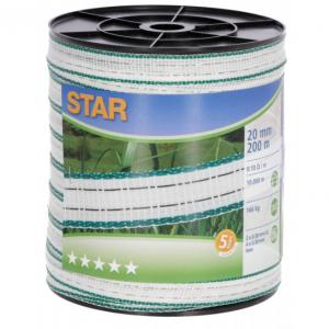 Taśma STAR 200m, 20mm, biało-zielona do pastucha