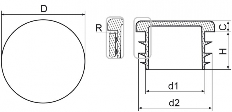 Zaślepka okrągła 60mm - 10 sztuk