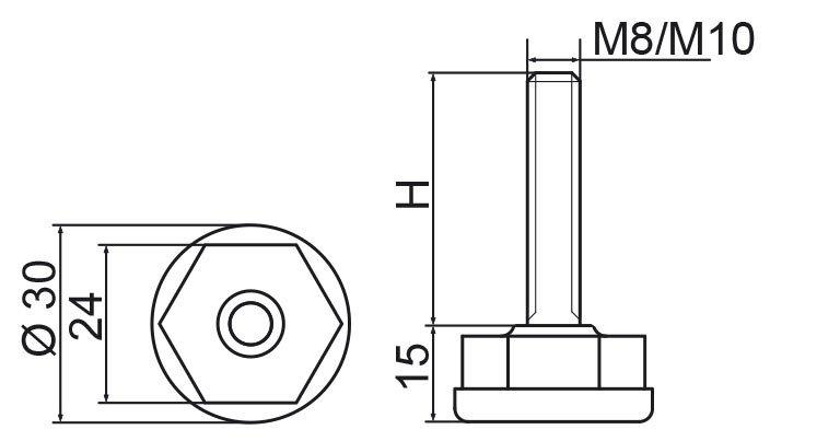 Stopka regulacyjna fi30 - M10x30 - 4 szt.