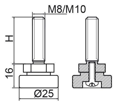 Stopka regulacyjno-obrotowa fi25 - M8x80 - 4 szt.