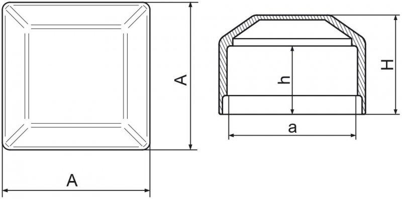 Nasadka na słupek ogrodzeniowy 40x40 mm - 100 sztuk