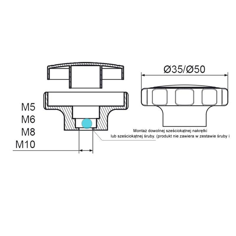 POK-02 Pokrętło składane fi50 M8