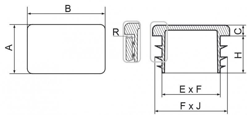 Zaślepki prostokątne 18x30mm - 50 sztuk