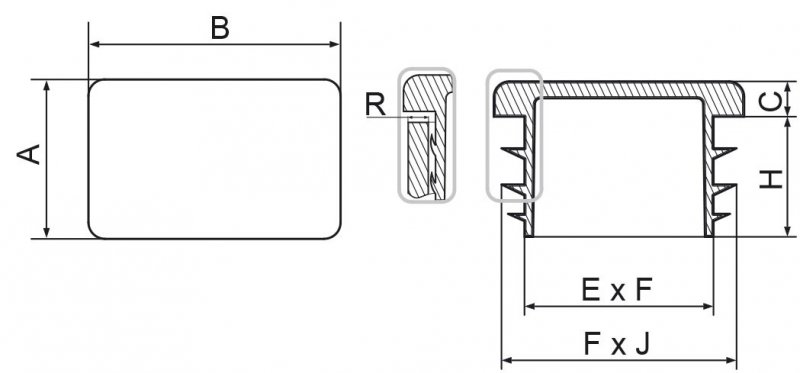 Zaślepki prostokątne 15x20mm - 100 sztuk