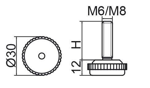 Stopka regulacyjna fi30 - M8x40 - 100 sztuk