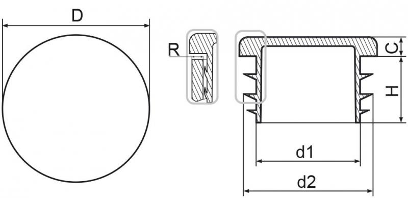 Zaślepka okrągła 16mm - 50sztuk