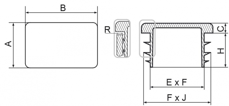Zaślepki prostokątne 30x40mm - 50 sztuk