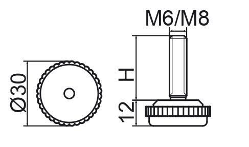 Stopka regulacyjna fi30 - M8x20 - 4 szt.