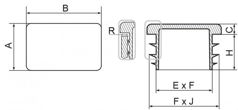 Zaślepka prostokątna 25x70mm - 20 sztuk