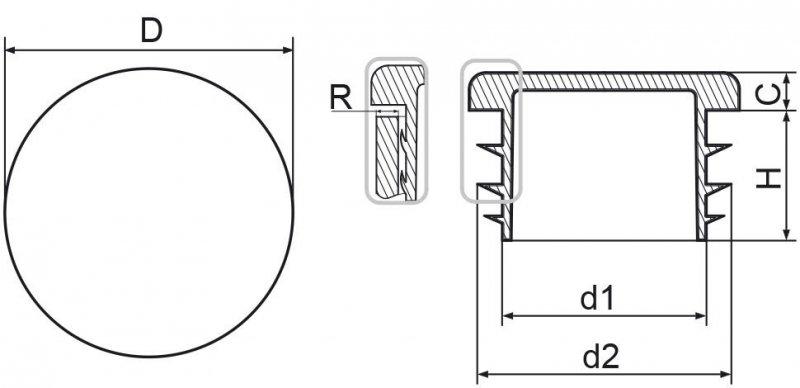 """Zaślepka okrągła calowa 48,3mm (1 1/2"""") - 100sztuk"""