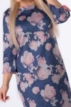 dzianinowa sukienka w kwiaty z falbanami przy mankietach