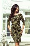 Sukienka Model 13-85 Khaki Liście