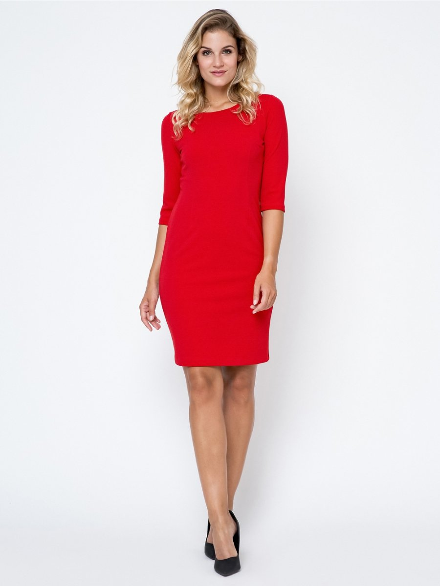 58c117cc0ed773 Czerwona sukienka plus size XXL ołówkowa - XELKA odzież damska ...