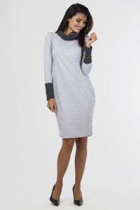 Sukienka PLUS SIZE 40-54 dzianinowa K-050 Light Gray Melange/Grafit DUŻE ROZMIARY